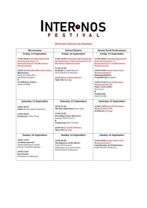 Inter.Nos Program Schedule